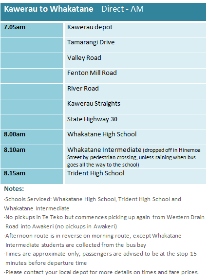 Kawerau to Whakatane Direct - School Bus Timetable