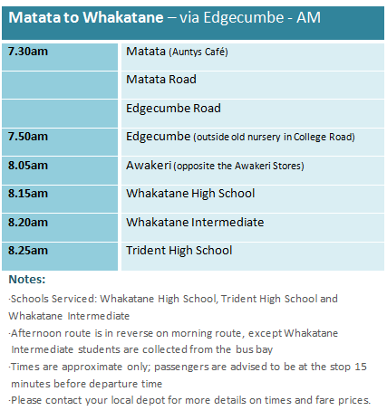 Matata to Whakatane via Edgecume - School Bus Timetable