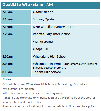 Opotiki to Whakatane - School Bus Timetable