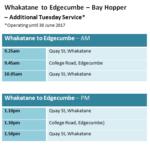 Additional Bay Hopper Service – Edgecumbe and Whakatane (Tuesdays)