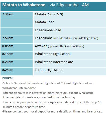 Matata to Whakatane via Edgecume - School Bus Timetable
