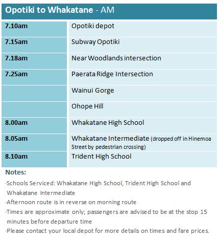 Opotiki to Whakatane - School Bus Timetable